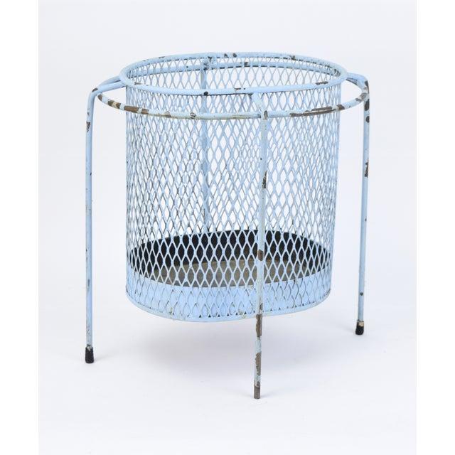 Circa 1953 Maurice Duchin Iron Mesh Mid-Century Modernist Waste Basket For Sale - Image 5 of 6