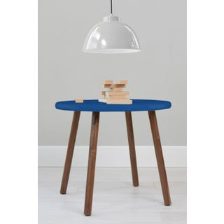 """Peewee Small Round 23.5"""" Kids Table in Walnut With Pacific Blue Finish Accent Preview"""