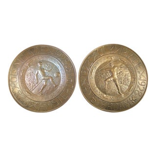 1928 Amsterdam Olympics Commemorative Brushed Brass Men's Sports Plates - a Pair For Sale