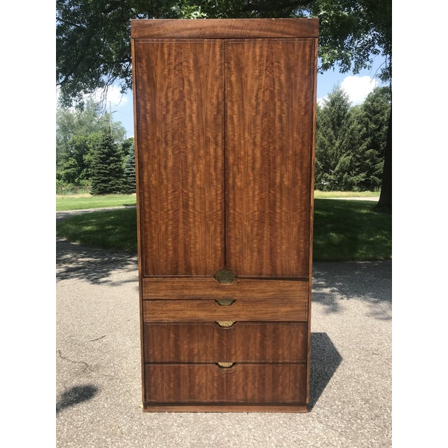 Walnut and Gold Gilted Armoire by Baker Furniture For Sale - Image 10 of 10