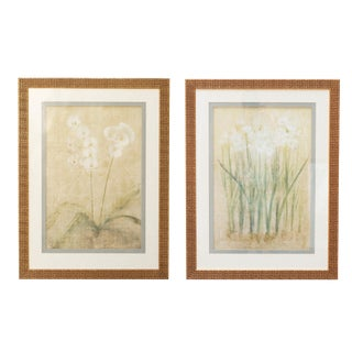 Ethan Allen Decorative Flower Prints With Gold Frames - a Pair For Sale
