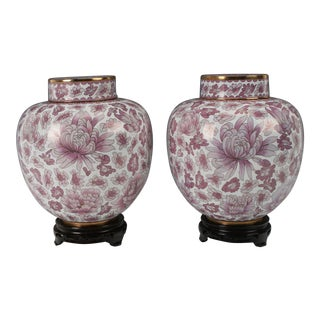 Large Chinese Pink and White Cloisonné Ginger Jars -a Pair