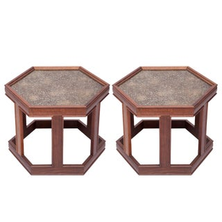 John Keal for Brown Saltman Hexagonal Walnut Occasional Tables - a Pair For Sale