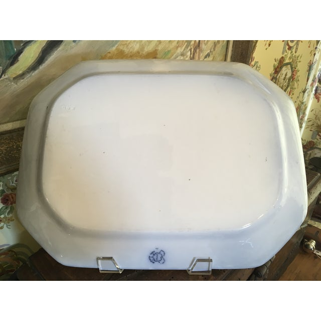 Late 20th Century English Staffordshire Style Ironstone Blue & White Platter For Sale - Image 10 of 13