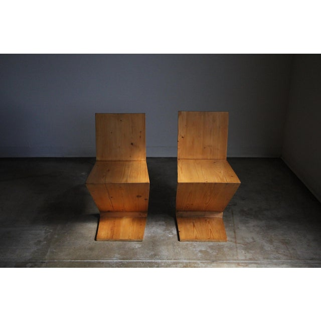Yellow Vintage Gerrit Rietveld Style Zig Zag Chairs - a Pair For Sale - Image 8 of 13
