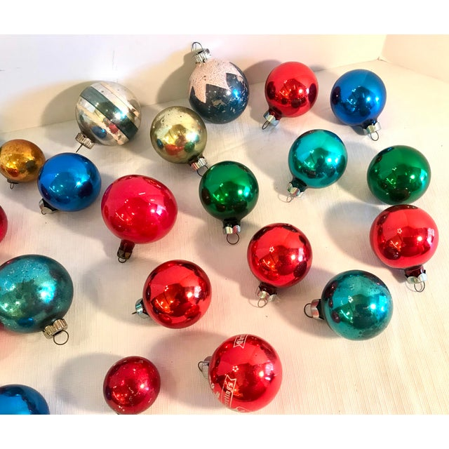Americana Holiday Christmas Glass Ornaments - Set of 24 For Sale - Image 4 of 5