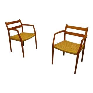 Jl Moller #71 Mid Century Danish Modern Teak & Cord Seat Chairs - a Pair