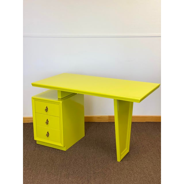 1920s Vintage Art Deco Lacquered Green Desk For Sale - Image 9 of 9