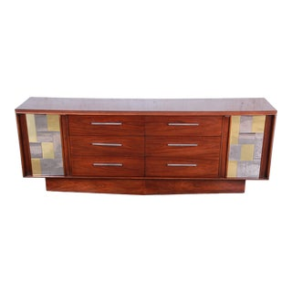 Mid-Century Modern Walnut, Chrome, and Brass Long Dresser or Credenza by Lane For Sale