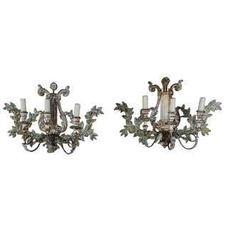 3-Light Italian Wood Sconces - A Pair For Sale