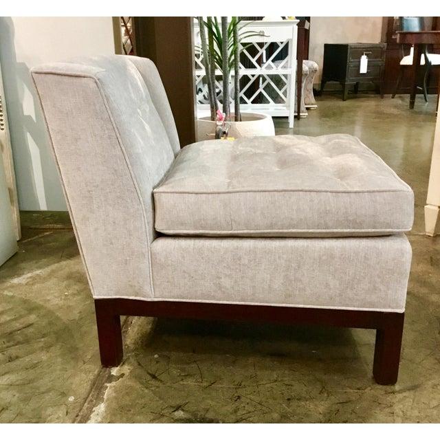 Sophisticated Hickory Chair Co. Modern gray chennile slipper chair, tufting detail, dark wood base, showroom floor sample.