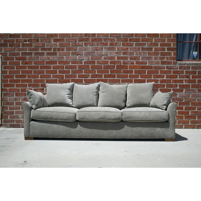 Down Filled Silver Velvet Sculptural Sofa - Image 2 of 9