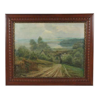 Lakeside Cottage Landscape by E. Giessing For Sale