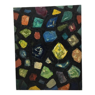 Colorful Mid Century Abstract Painting For Sale