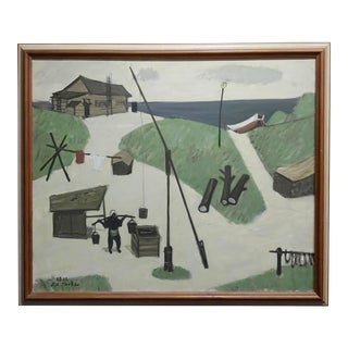 Fume Kitaoka -1965 Japanese Seashore Campement -Original Oil Painting For Sale