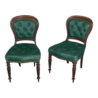 Pair of William IV Tufted Leather Side Chairs For Sale