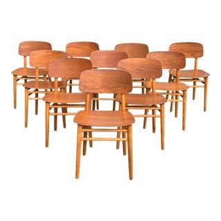 Hans Wegner Teak Dining Chairs or Fritz Hansen 4101, Denmark - Set of 10 For Sale