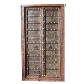 Early 20th Century Antique Indian Rustic Architecture Jharokha Door For Sale