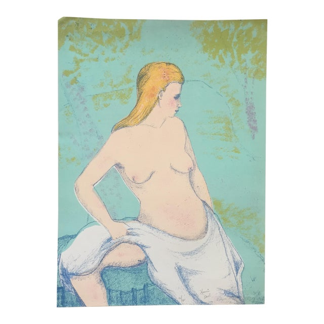 Vintage Female Nude Original Lithograph For Sale