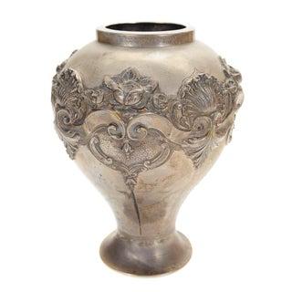 Topazio 19th Century Silver Repousse Vase