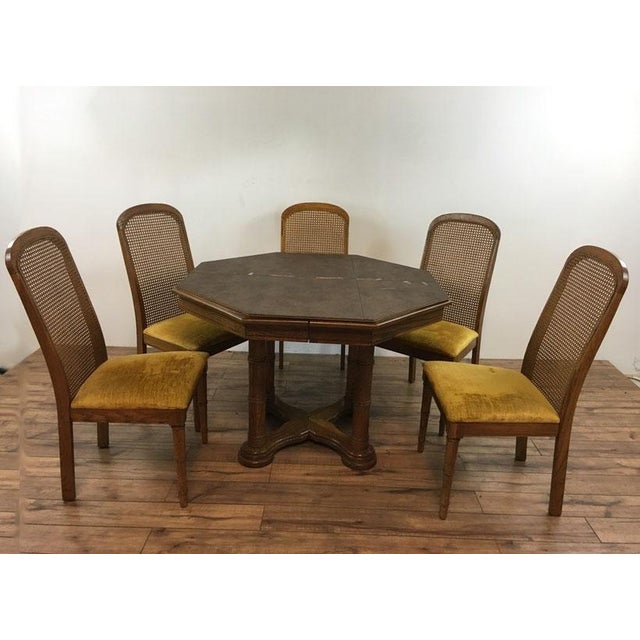 Vintage Dining Table & Cane Back Chairs - Image 2 of 7