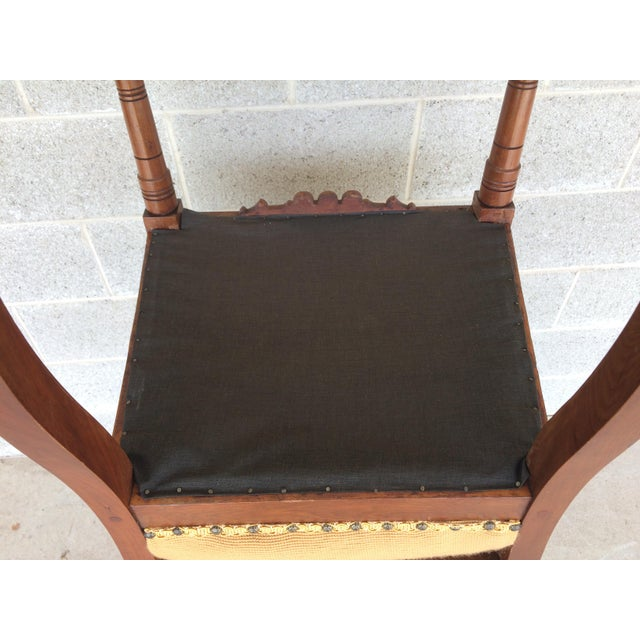 Pair of Victorian Eastlake Needle Point His & Hers Accent Chairs For Sale - Image 11 of 11