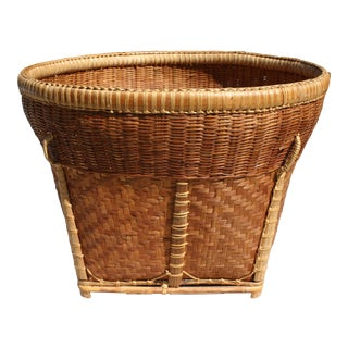 Large Vintage Woven Basket Planter For Sale