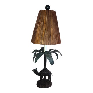 Vintage Brass and Metal Camel Table Lamp For Sale