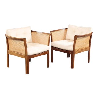1960s Illum Vikkelso Danish Plexus Easy Chairs in Mahogany and White Fabric - Set of 2