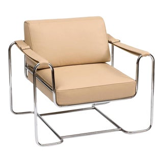 Lounge Chair by Kurt Thut in Butter Colored Leather and Chrome, 1960s