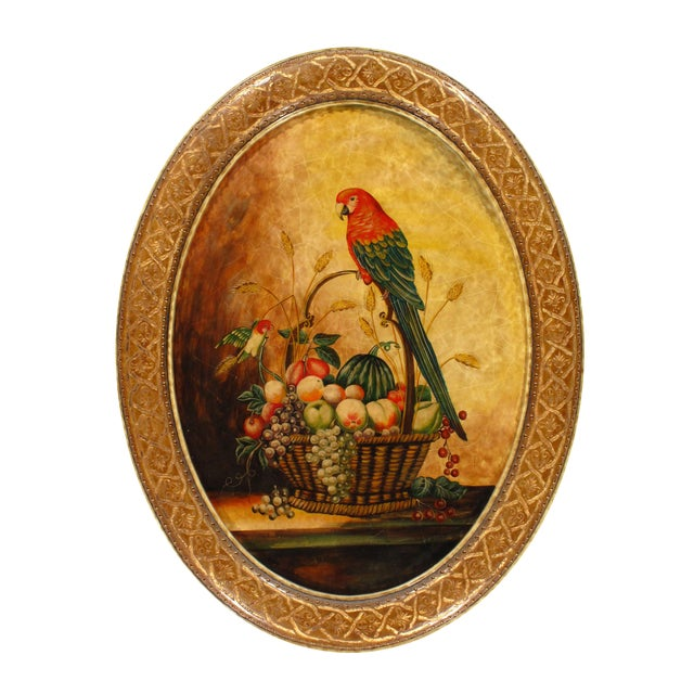 Pasargad N Y Hand Painted Parrot & Fruit Design For Sale