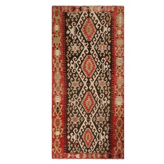 Vintage Esme Red and Brown Wool Kilim Rug With White and Green Accents - 4′ × 4′10″ For Sale
