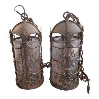 Vintage Medieval Style Iron Lanterns - a Pair For Sale