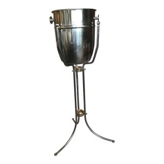 1960's Vintage Stainless Steel Champagne Bucket With Stand For Sale