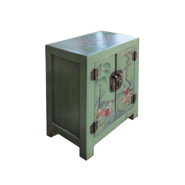 Petite Pastel Green Butterfly Top Nightstand - Image 4 of 7
