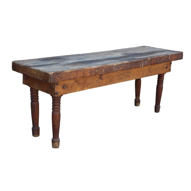 Brown Antique Farm Table For Sale - Image 8 of 8