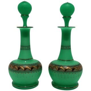 Pair Italian Emerald Green Opaline Glass & Gold Chevron Perfume Vantiy Bottles For Sale