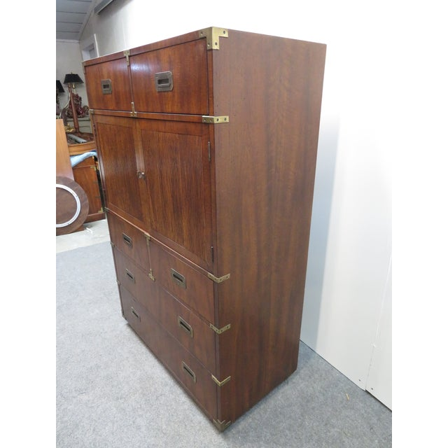 Brown Mid Century Modern Fruitwood Campaign Chest of Drawers For Sale - Image 8 of 9