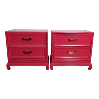 Chinoiserie Henry Link Pink Lacquer Nightstands - a Pair For Sale
