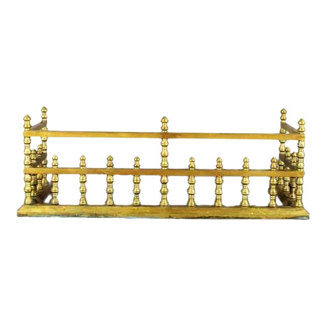 19th Century Brass Fireplace Fender For Sale