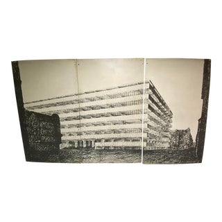 Mies Van Der Rohe Concrete Office Building From the Art Institute of Chicago Original Installation Panels 1968 Exhibit, Numbered For Sale