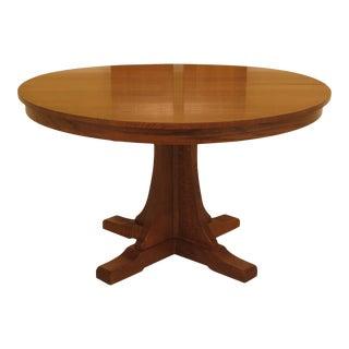 1990s Vintage Stickley Round Mission Oak Dining Room Table For Sale