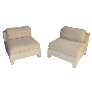 Pair of Large-Scale Slipper Chairs by Interior Crafts, Circa 1980s For Sale