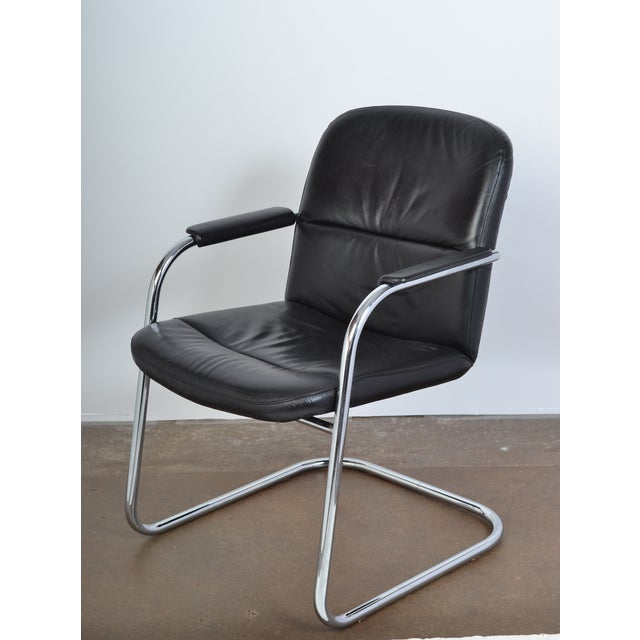 Mid-Century Leather & Chrome Armchairs - A Pair - Image 5 of 10