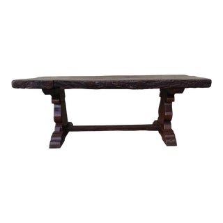 19th Century Spanish Oak Trestle Table For Sale