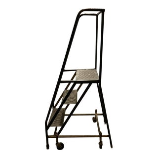 Vintage Industrial Steel Rolling Ladder For Sale