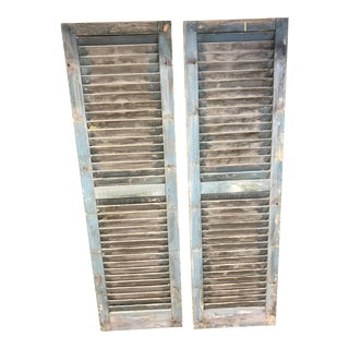Vitnage Rustic Green Wood Shutters - a Pair For Sale
