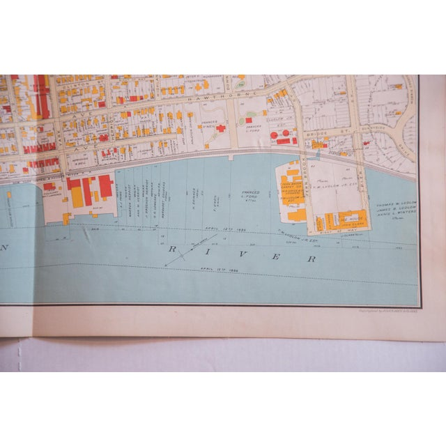 Industrial Antique Yonkers City Map For Sale - Image 3 of 5