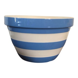 1980s Country Blue Striped Cornishware Mixing Bowl For Sale