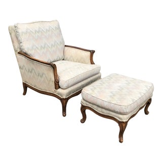 Traditional French Provincial Lounge Chair and Ottoman For Sale